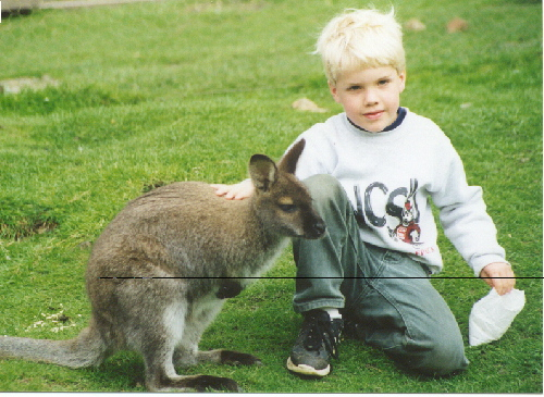 James with a Wallaby